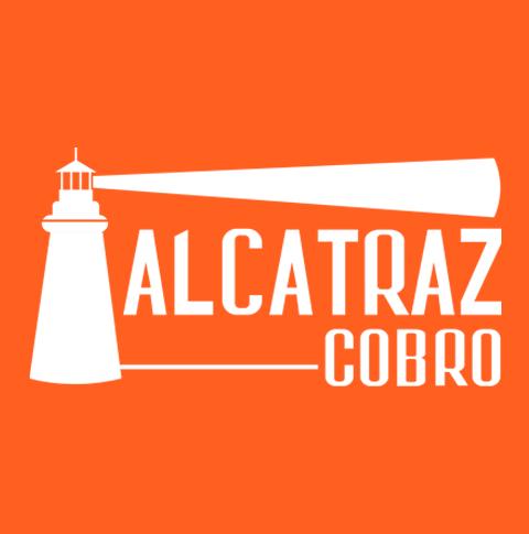Logotipo de la marca Alcatraz Cobro en un fondo de color naranja.