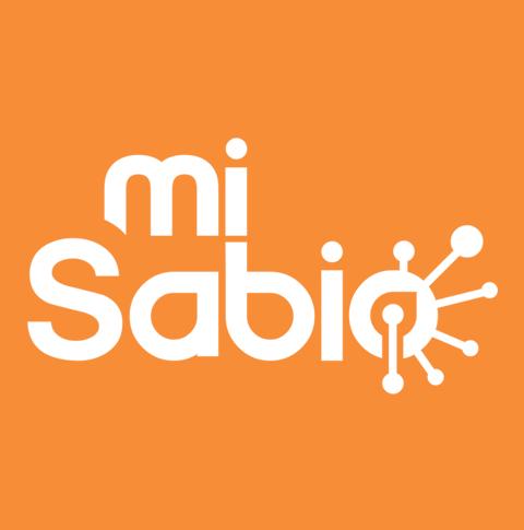 Logotipo del Directorio Médico Virtual MiSabio en un fondo de color naranja.