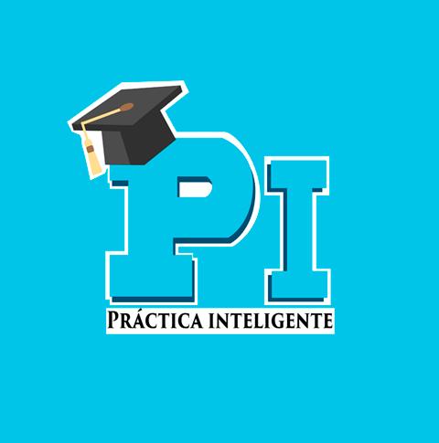 Logotipo de Práctica Inteligente en fondo de color celeste.