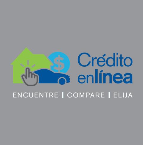 Logotipo de Crédito en Línea en fondo de color gris.