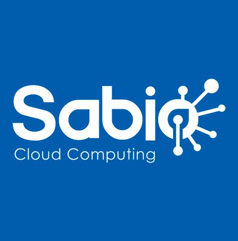 Logotipo de la marca Sabio Cloud en un fondo de color azul.